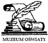 Logo Muzeum Oświaty: kałamarz, gęsie pióro i zwój papieru.