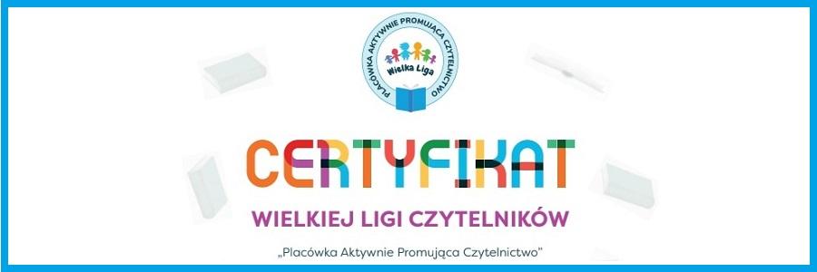 """Certyfikat """"Placówka Aktywnie Promująca Czytelnictwo"""""""
