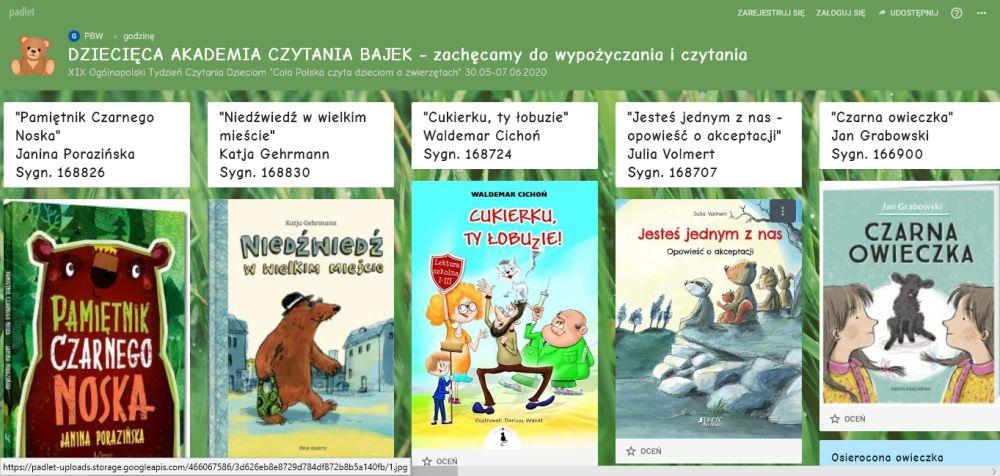 Padlet - książki o zwierzętach
