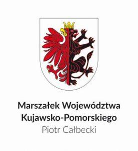 Herb województwa oraz napis Marszałek Województwa Kujawsko-Pomorskiego Piotr Całbecki