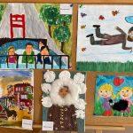 Cztery wyróżnione prace dzieci.