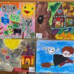 Cztery wyróżnione w konkursie rysunki dzieci.