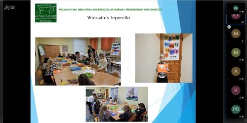 Zrzut ekranu z seminarium onlne prezentujący 3 zdjęcia z warsztatów leporello.