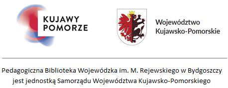 Biblioteka jest jednostką Samorządu Województwa Kujawsko-Pomorskiego. U góry znak promocyjny Kujawy i Pomorze oraz herb województwa.