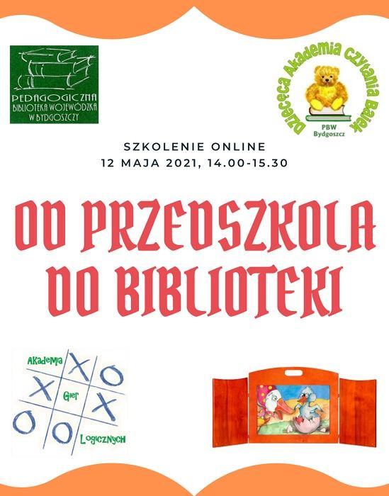 Plakat informacyjny o szkoleniu zawierający logotypy biblioteki, Dziecięcej Akademii Czytania Bajek, Akademii Gier Logicznych i wizerunek teatrzyku kamishibai.