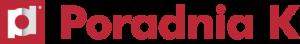 Logotyp wydawnictwa Poradnia K w kolorze ciemnoczerwonym: nazwa oraz w kwadracie nasunięte na siebie biała litera p oraz szara d.