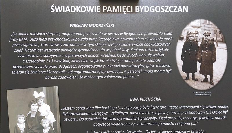 """Fragment planszy pt. """"Świadkowie pamięci bydgoszczan""""."""