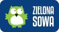 Logo Wydawnictwa Zielona Sowa - biały napis na granatowym tle i biało-zielona sowa.