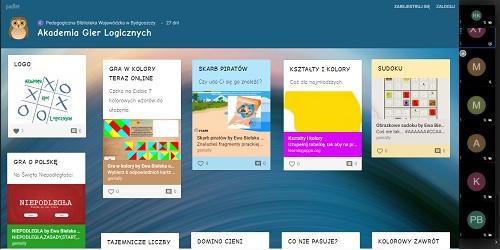 Zrzut ekranu padletu Akademii Gier Logicznych z prezentacją gier dla dzieci.
