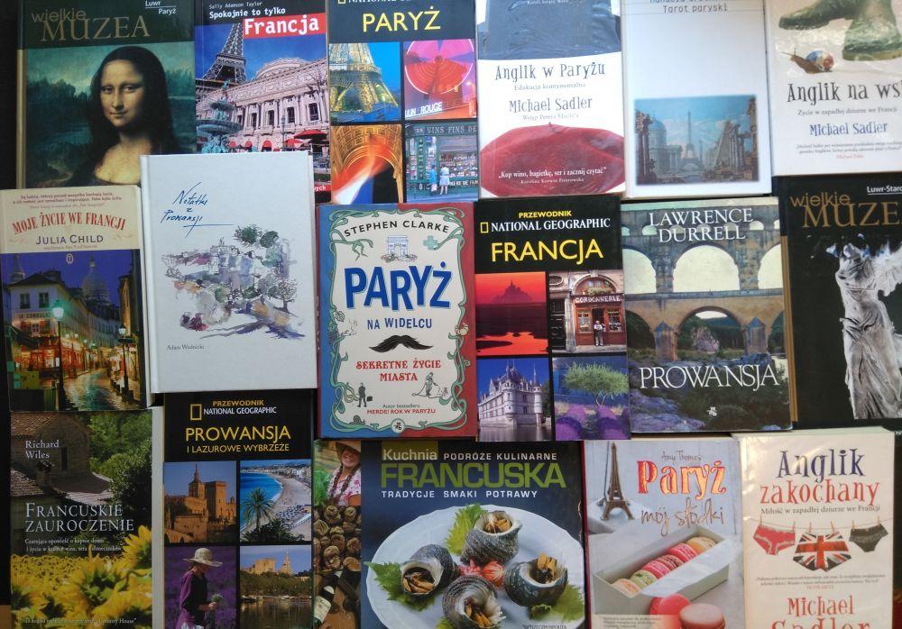 Okładki książek o Francji.