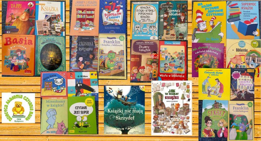 Kilkanaście książek dla dzieci rozłożonych na stoliku.